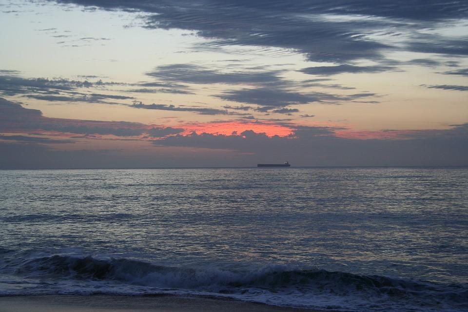 Ship, Containership, Sunrise, Beach, Ocean, Sea, Sky