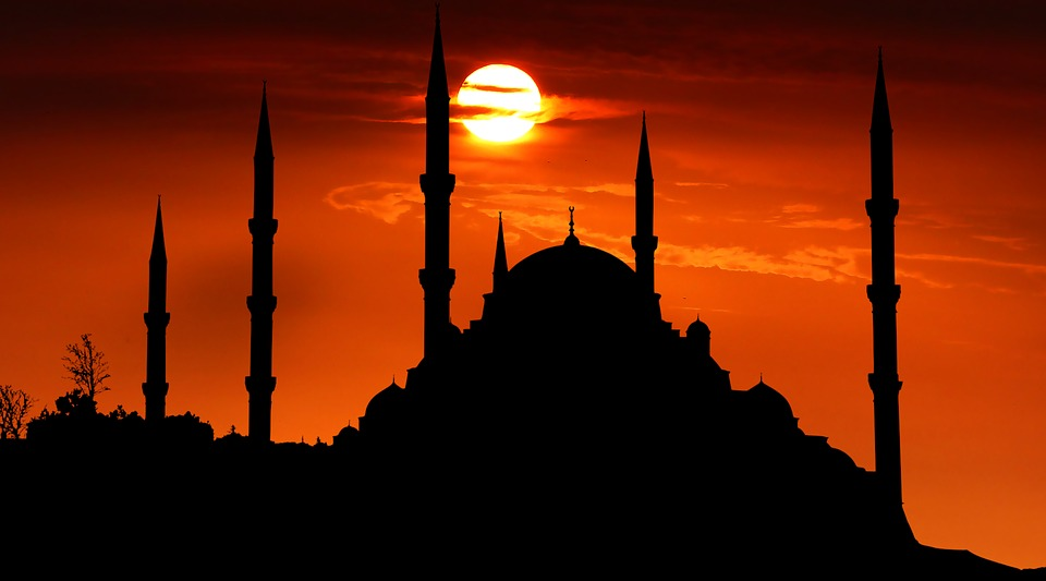 Sunset, Mosque, Beauty, Religion, Sky, Sihlouette
