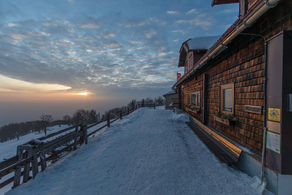 Snow, Winter, Sky, Horizontal, Dusk, Landscape, Nature