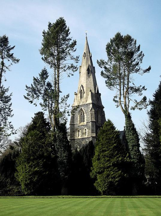 Spire, Church, Park, Trees, Sky, Architecture, Building
