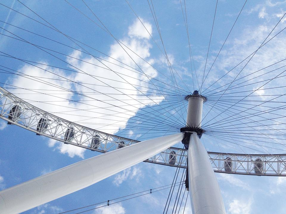 Ferris Wheel, London Eye, Landmark, Sky, Cities, Spoke