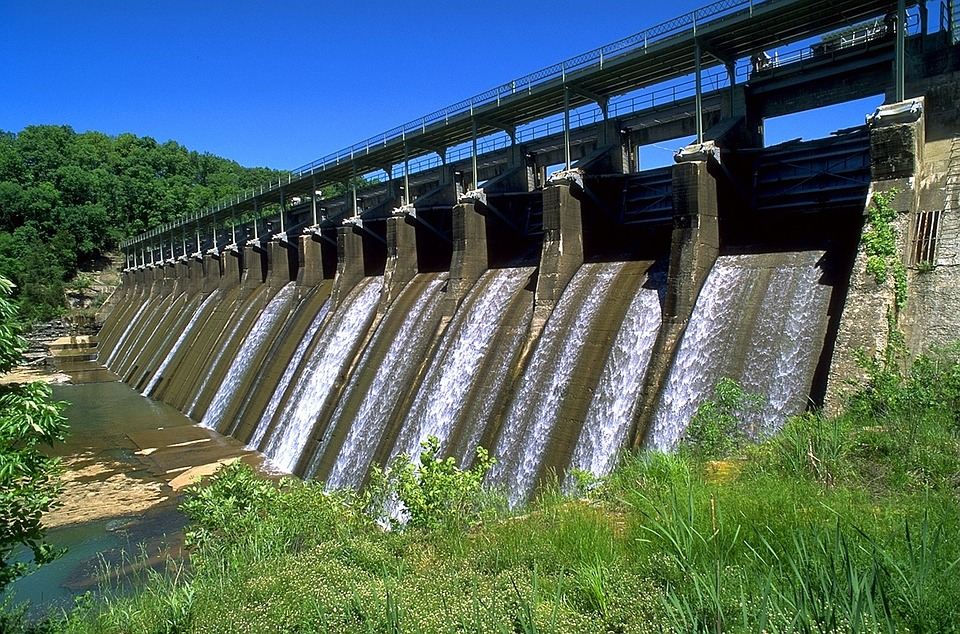 Dam, Tennessee, Sky, Clouds, Summer, Spring, River