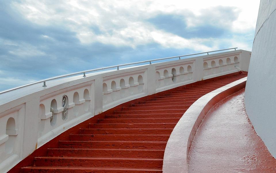 Stair, Red, Stairway, Sky, Heaven, Building, Up