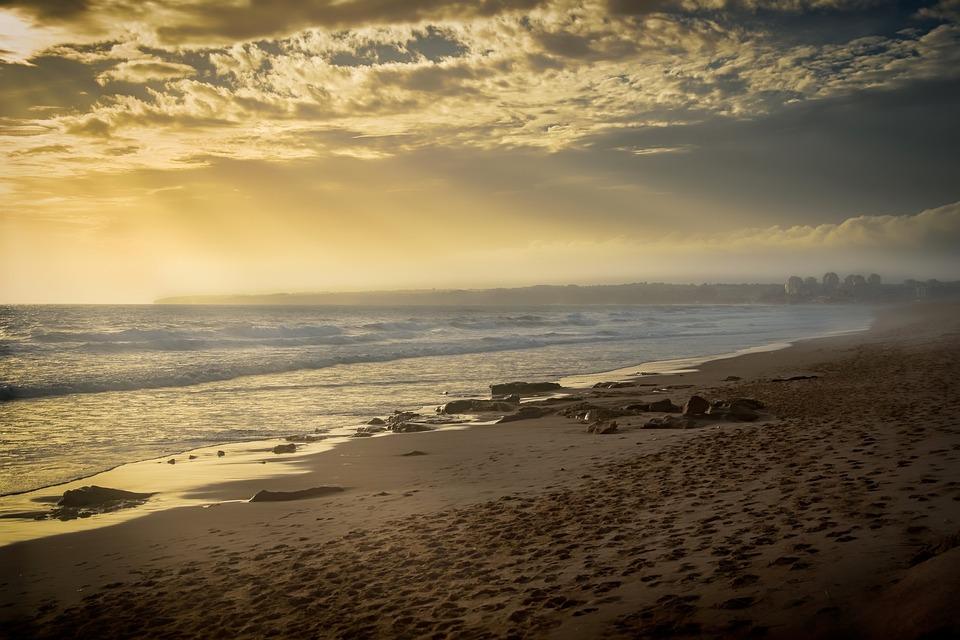Beach, Storm, Mist, Clouds, Sky, Sun, Haze, Sunlight