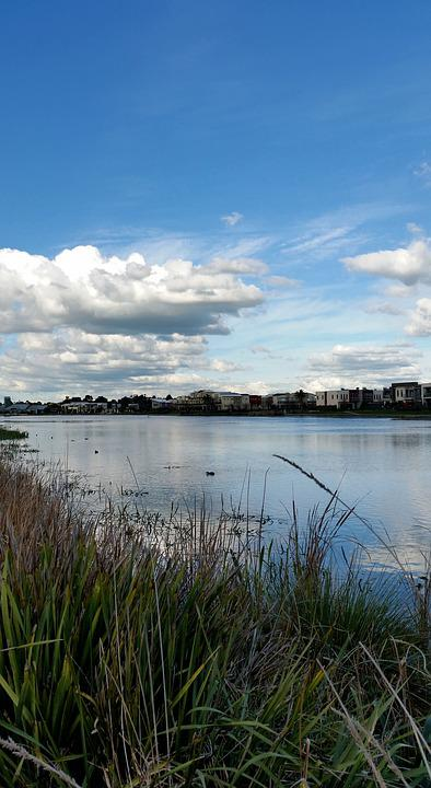 Urban, Suburban, Lakeside, Lake, Housing, Sky, Clouds