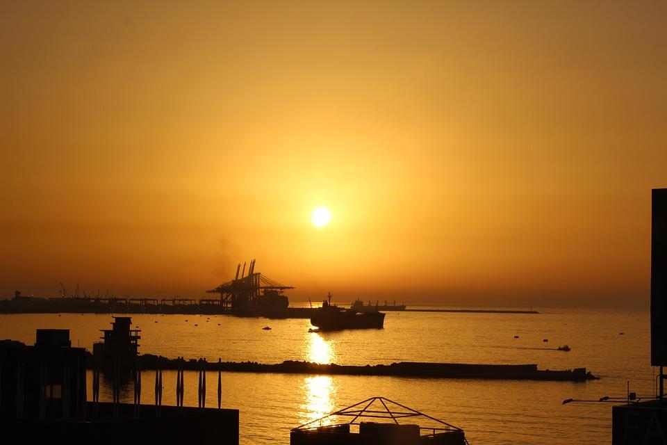 Sunset, Lebanon, Sea, Gold, Weather, Summer, Water, Sky