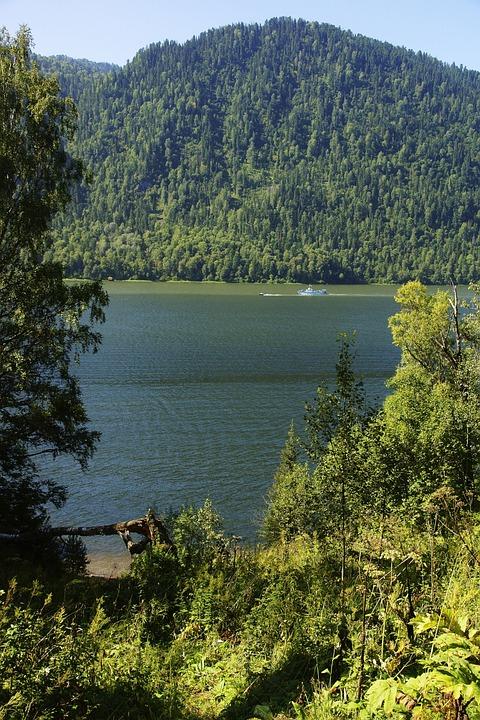 Lake Teletskoye, Water, Sky, Nature, Forest, Summer