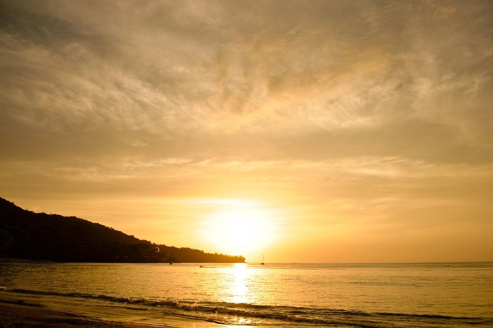Beach, Sunset, Sea, Sky, Golden, Summer, Nature