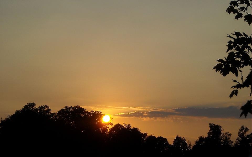 Silhouette, Sunset, Sky, Sun, Nature, Summer, Sunlight