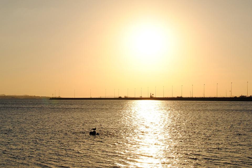 Sunset, Of, Sun, Sky, Beach, Sea, Costa, Ocean, Clouds
