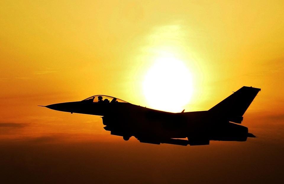 Sunrise, Sky, Clouds, Sun, Bright, Jet, Fighter
