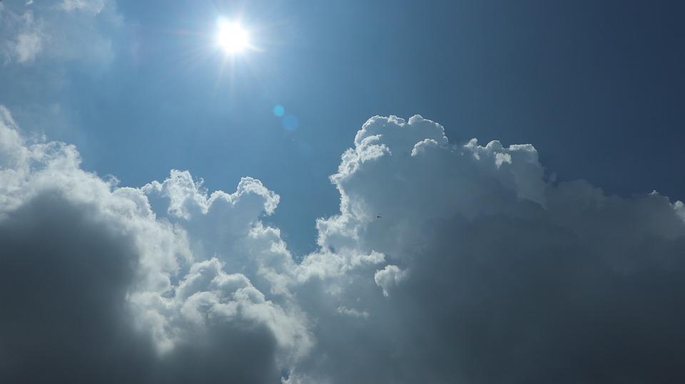 Sky, Blue, Sun, Shining, Flashing, Air, Plane, Airplane