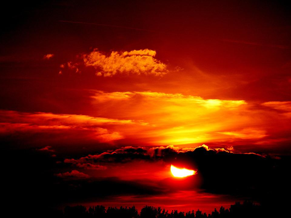 Sunset, Sun, Fire, Sky, Red