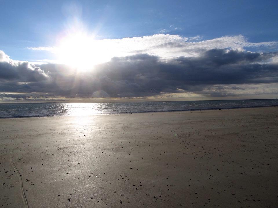 Sun, Sea, Beach, Sky, Abendstimmung, Sunbeam