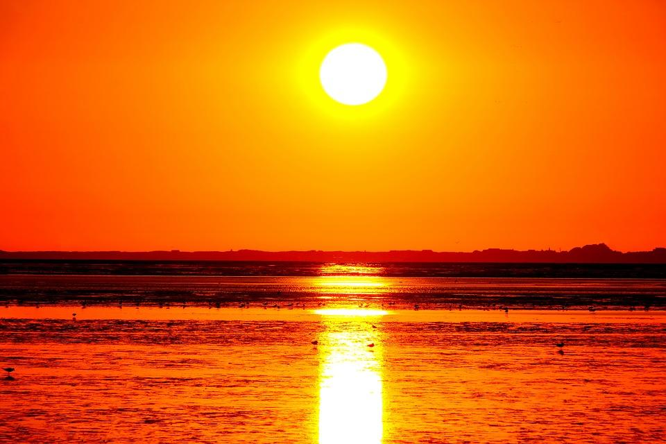 Sun, Sunset, Landscape, Sky, Dusk, Sea, Orange