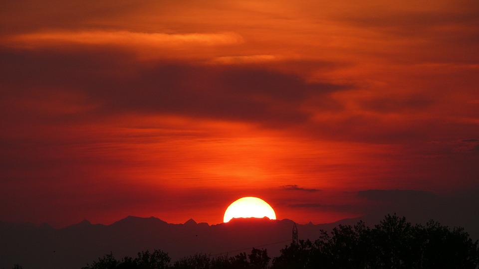 Sunset, Sky, Sun, The Mountains Far Away