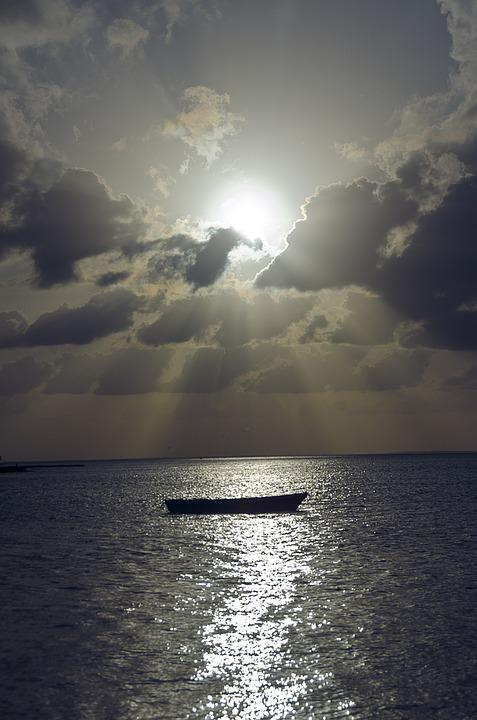 Boat, Sea, Ocean, Shore, Clouds, Sun, Sky, Sunlight