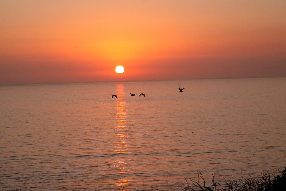 Sunset, Ocean, Sea, Sky, Beach, Water, Dusk, Sunrise