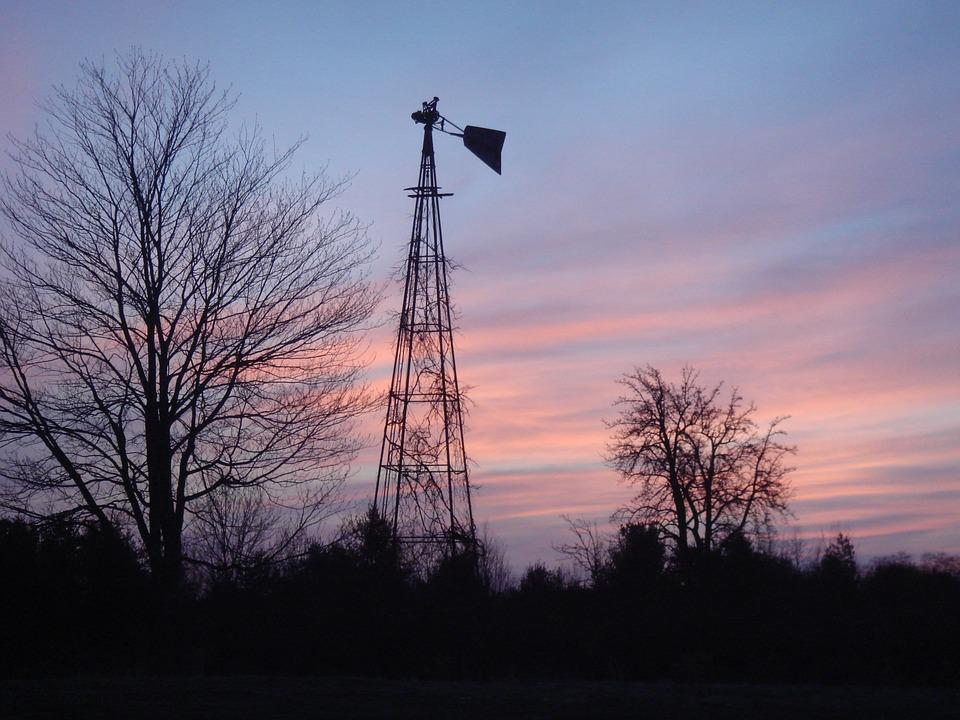 Windmill, Sunrise, Sky, Rural, Sunrise Landscape