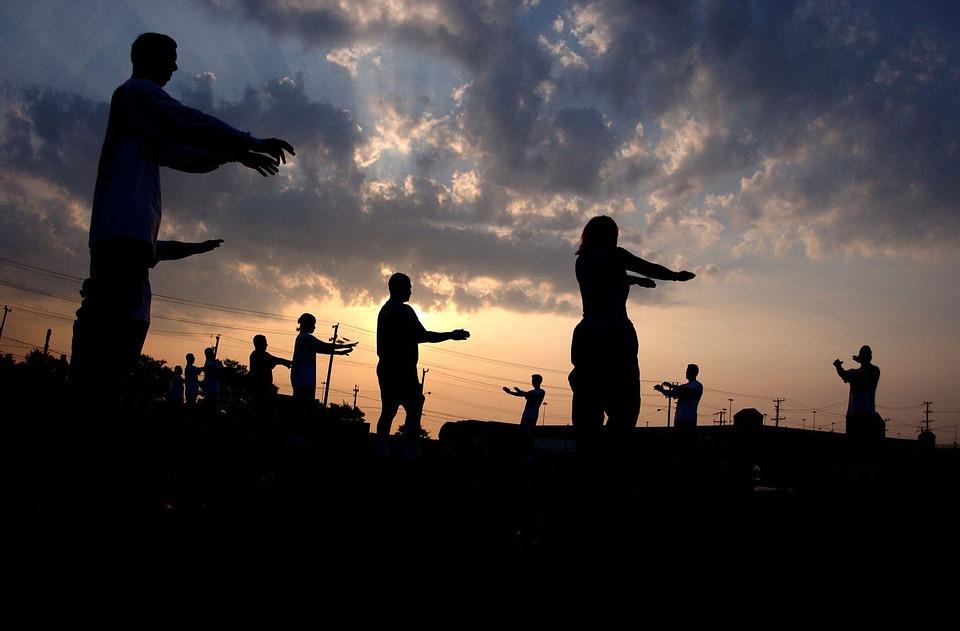 Men, Women, Exercising, Training, Morning, Sunrise, Sky