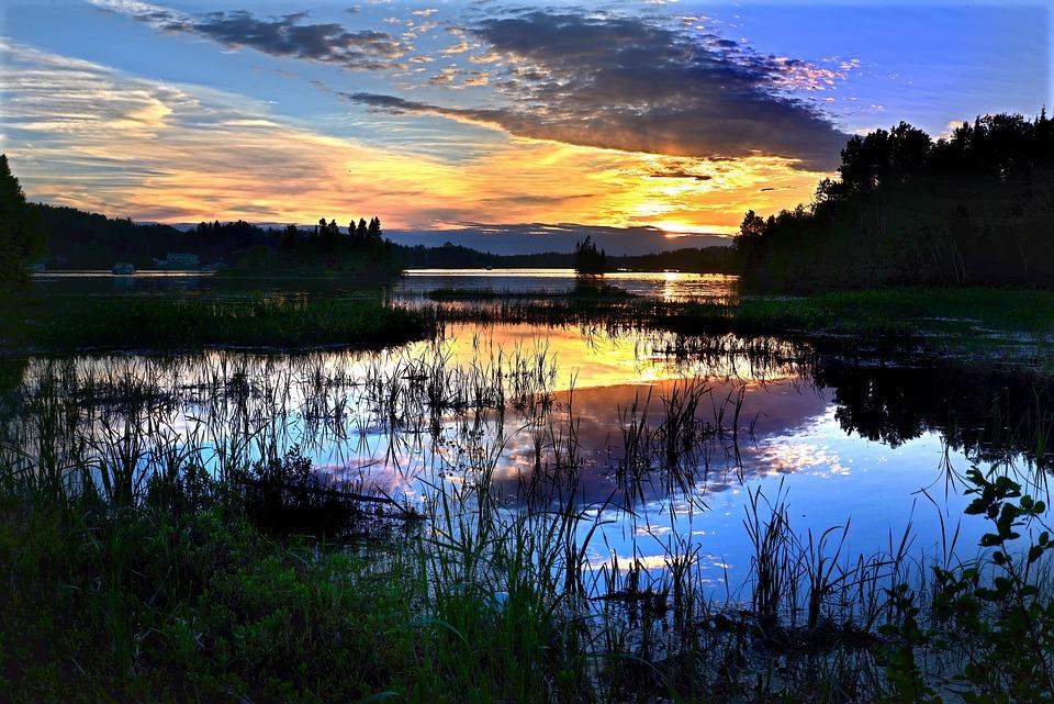 Sunset, Nature, Landscapes, Sky, Clouds, Lake, Evening