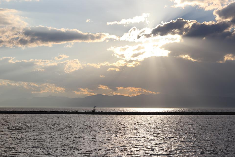 Sun, Sky, Lake, Clouds, Sunset, Nature, Landscape