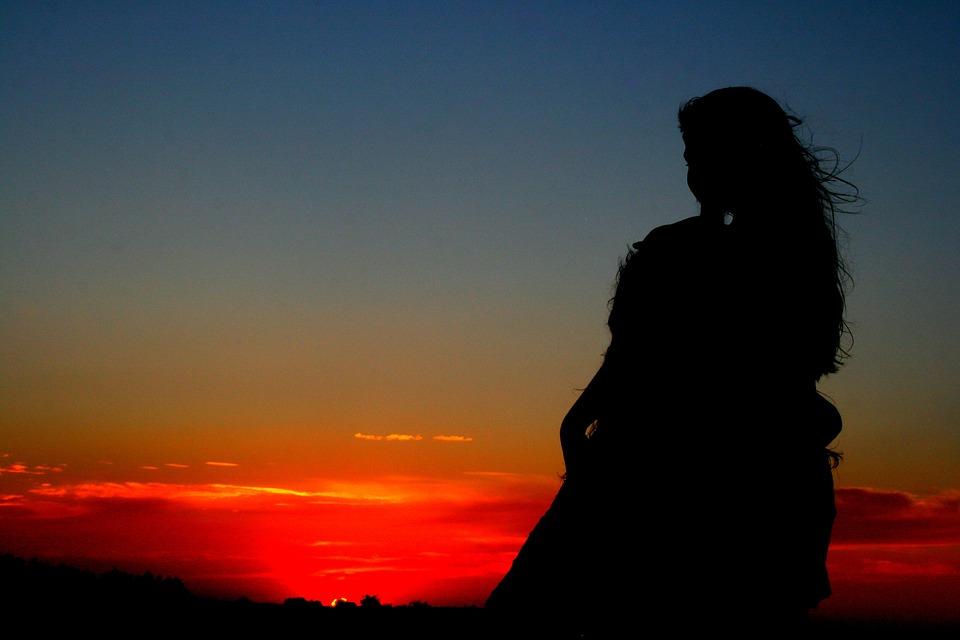 Sunset, Girl, Shadow, Silhouette, Sky, Cloud