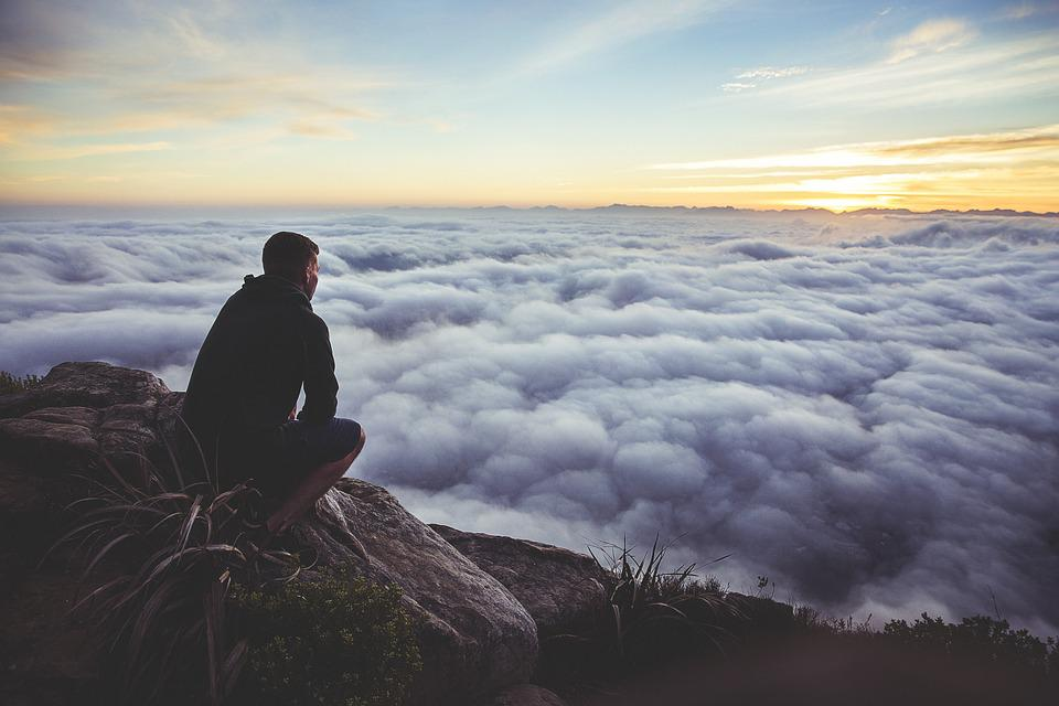 Sunset, Sky, Clouds, Guy, Looking, Rocks, People