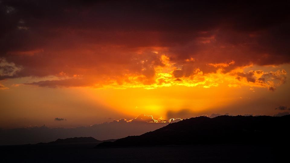 Sunset, Mountains, Landscape, Sky, Abendstimmung