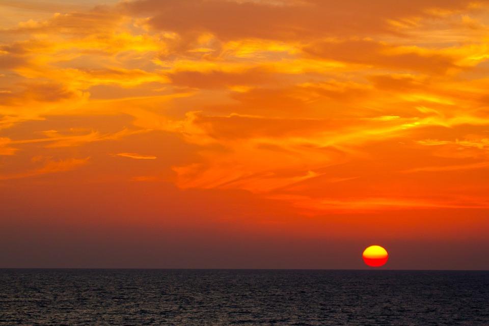 Sunset, Evening, Red, Landscape, Sky, Abendstimmung