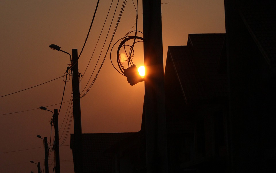 Sunset, Orange, Sky, Silhouette, Wire, Dark, Sun Sunset