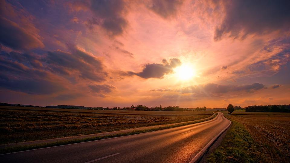 Nature, Sunset, Road, Sky, Sun, Fields, Panorama