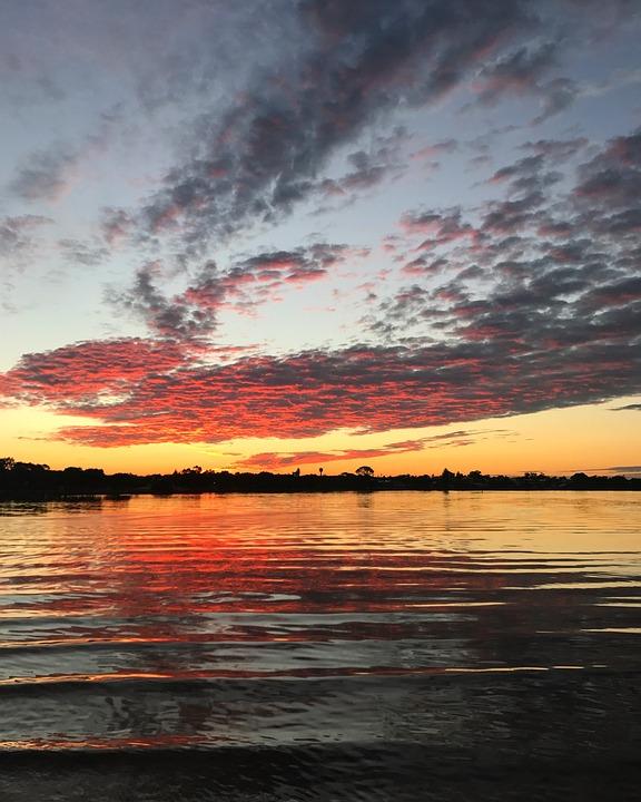 Sunset, Pretty, Sky, Clouds, Water, Waves, Mandurah