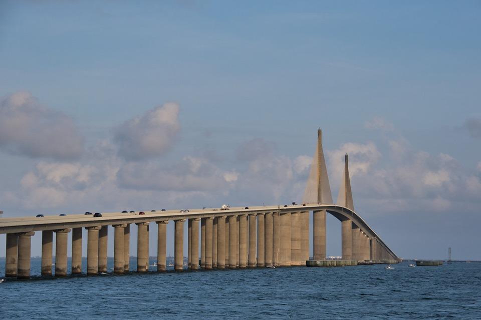 Bridge, Sunshine Skyway, Sky, Water, Stalk