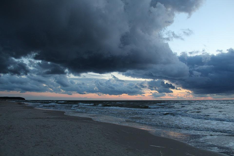 Sea, Clouds, Sky, The Horizon, Water, Twilight