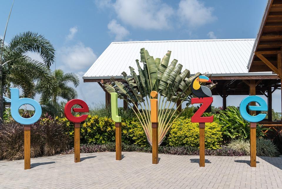 Belize Sign, Tourism, Landmark, Palm Trees, Sky, Palm