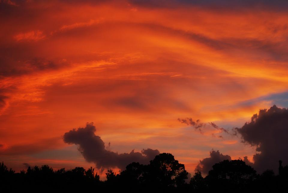 Sunset, Sky, Orange, Clouds, Trees, Formations