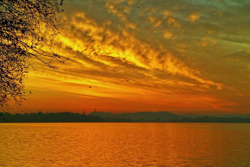 Landscape, Sunset, Sky, Lake, Nature, Italy, Twilight