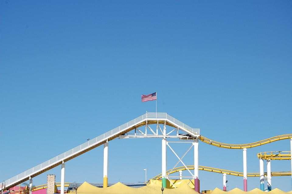 Rollercoaster, Flag, Usa, Sky, Blue, Cloudless, Bright