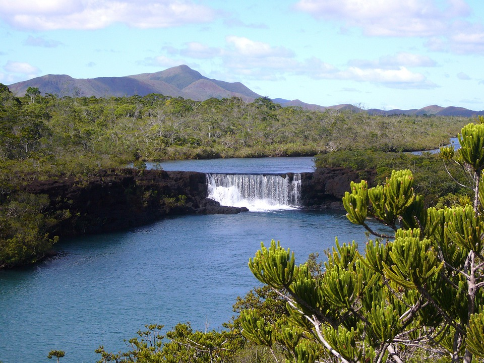 New Caledonia, Sky, Clouds, River, Water, Reflections