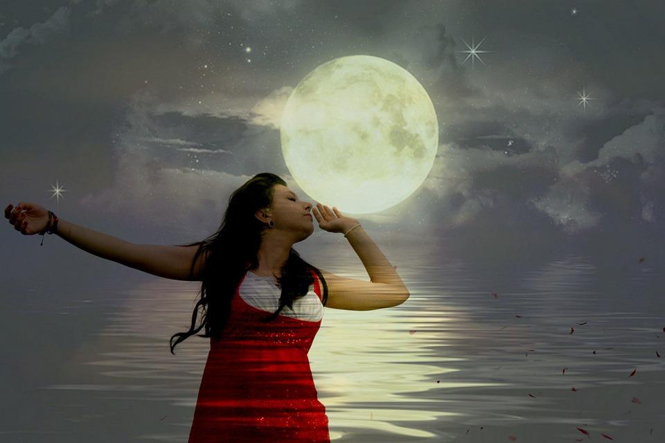 Girl, Luna, Water, Sky