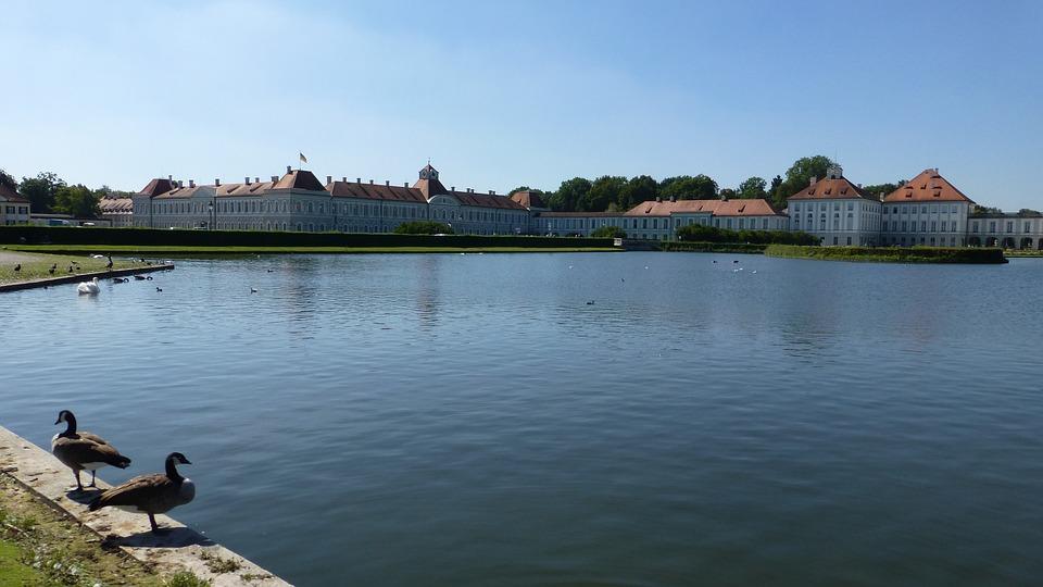Bavaria, Castle Nymphenburg, Munich, Water, Lake, Sky