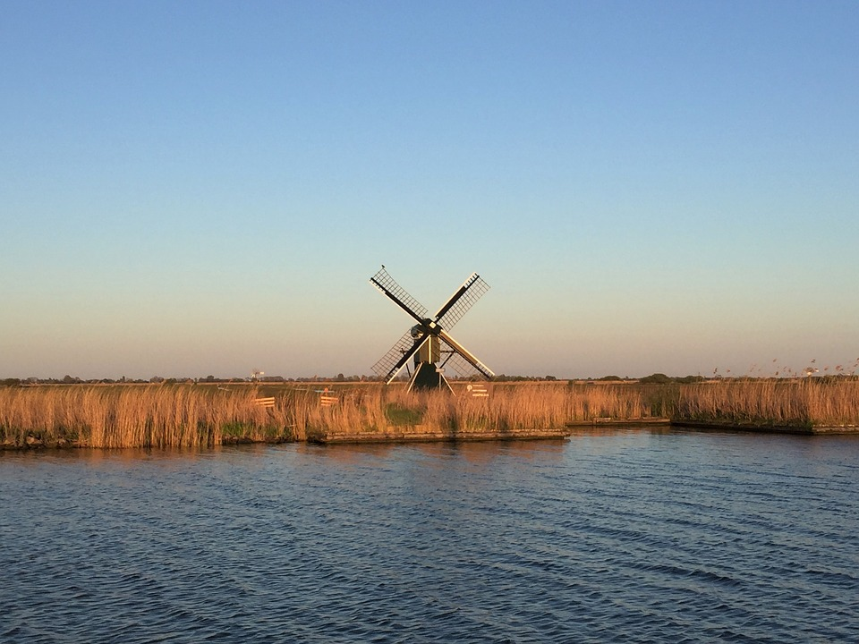 Waters, Nature, Windmill, Landscape, Sky, Ijsselmeer