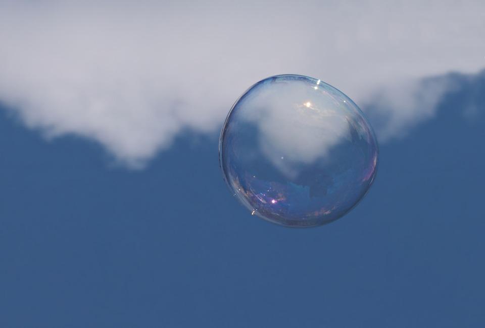 Soap Bubble, Cloud, Sky, Weightless, Float, Ease, Blue