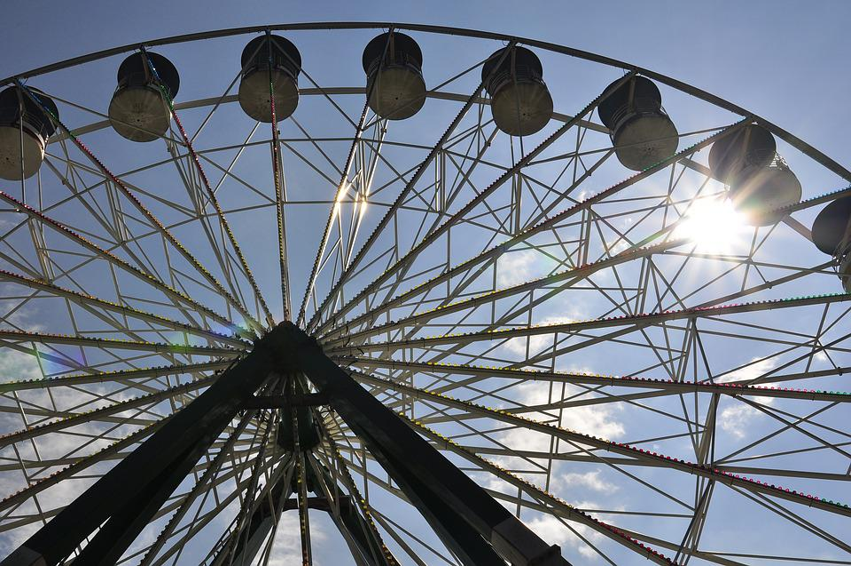Ferris, Wheel, Sky, Sun, Fun
