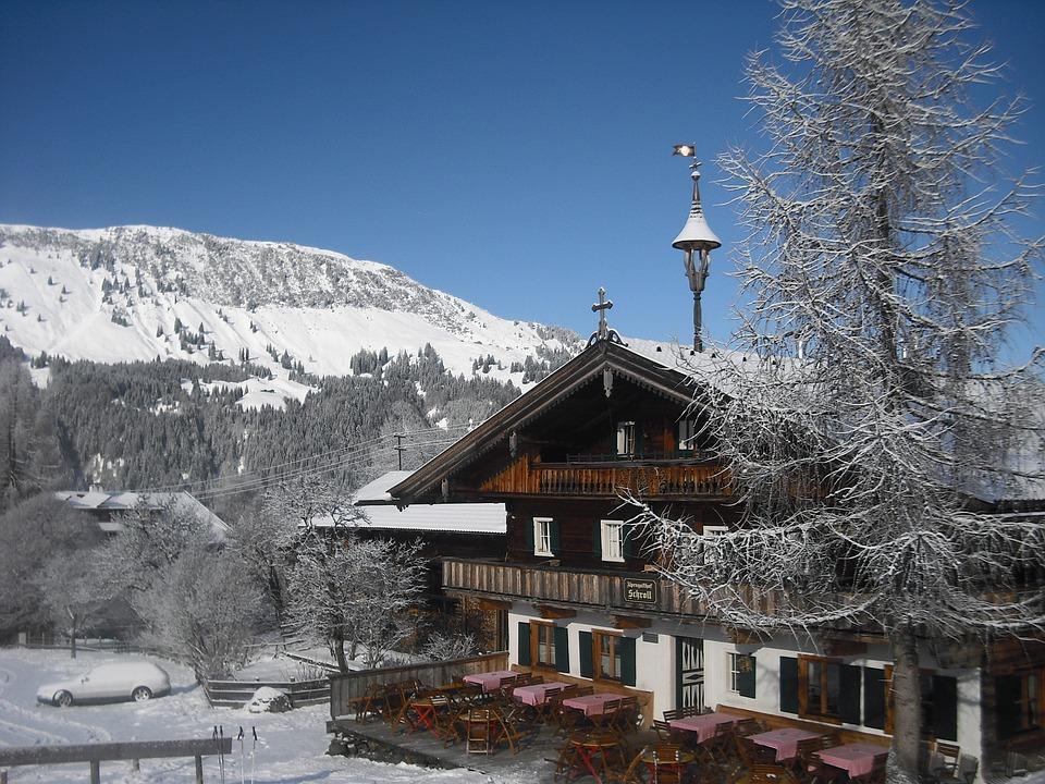 Chalet, Winter, Sky