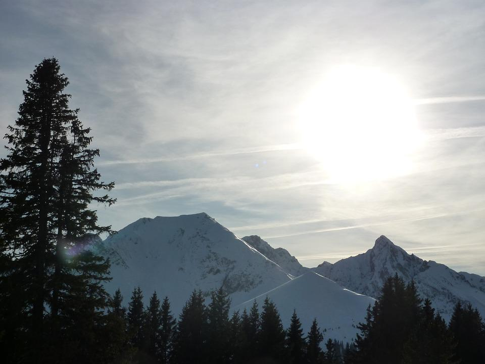 Mountains, Wintry, Winter, Alpine, Sun, Back Light, Sky