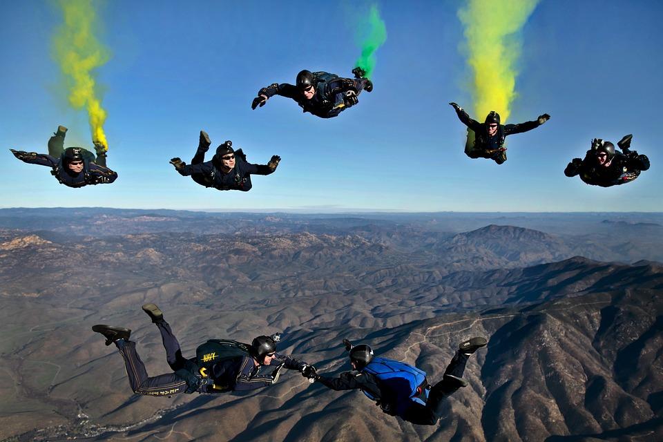 California, Parachutists, Skydivers, Flares, Colorful
