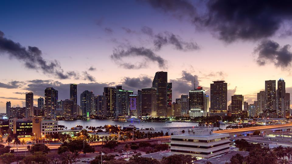 Miami, Florida, Sunset, Skyline, Architecture