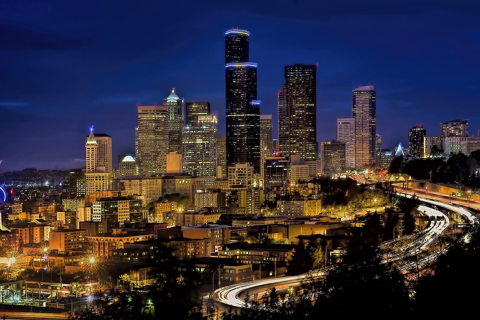 Skyline, Downtown, Seattle, Cityscape, Urban, Blue Hour